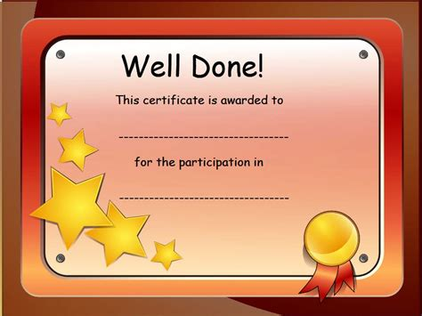 certificate of participation template for kids
