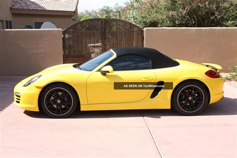 yellow porsche boxster 2014 porsche boxster yellow with black rims