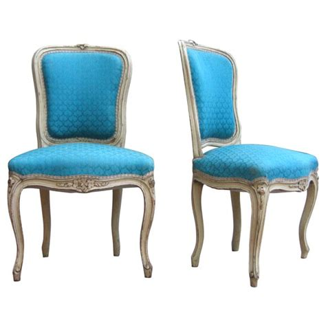 Blue Upholstered French Chairs