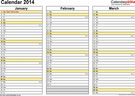 daily planner 2014 excel 6 excel calendar template 2014 exceltemplates