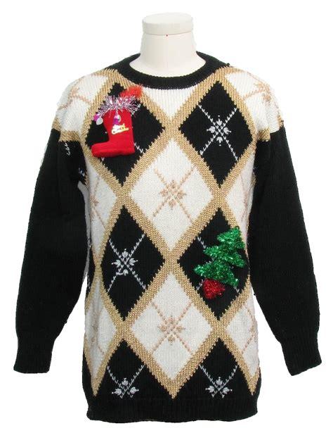 black pattern christmas jumper hand embellished ugly christmas sweater jocelyn smith