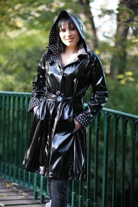 lade in pvc black pvc hooded raincoat rainwear hooded