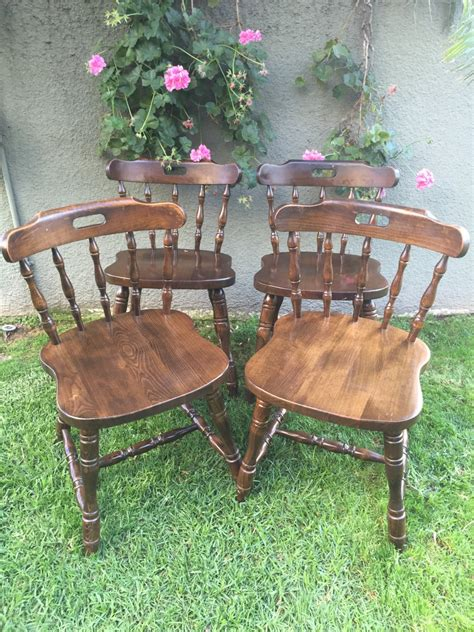 Solid Wood Kitchen Chairs by Set Of 4 Antique Vintage Spindle Chairs Beechwood