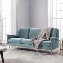 mid century velvet sofa mid century gray velvet sofa