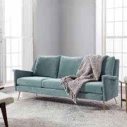 gray mid century sofa mid century gray velvet sofa