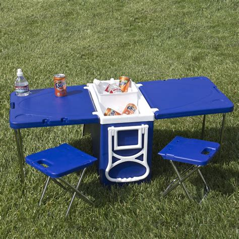 picnic table and chairs outdoor picnic cing rolling cooler with table and 2