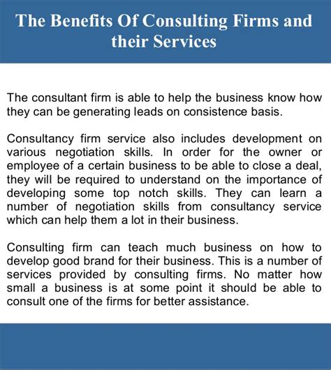 the benefits of consulting firms and their services