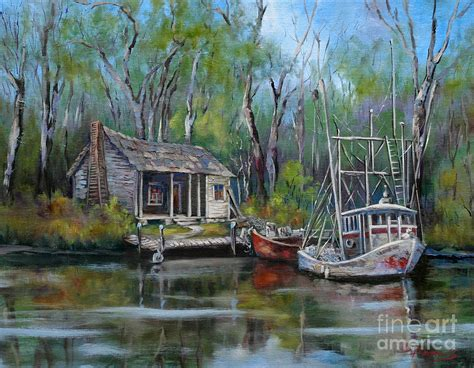 Old Southern House Plans by Bayou Shrimper Painting By Dianne Parks