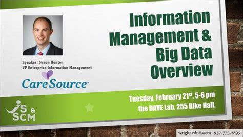 Wright State Mba Requirements by Speaking Event Information Management And Big Data
