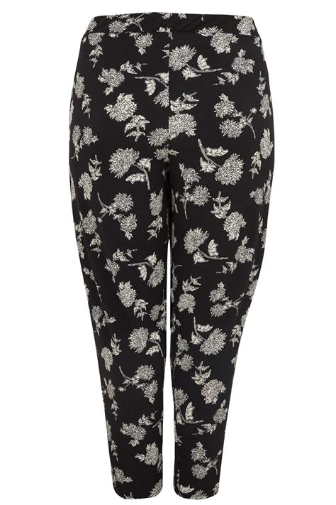Dress To Give 40370 black white floral print harem trousers plus size 16 to 36