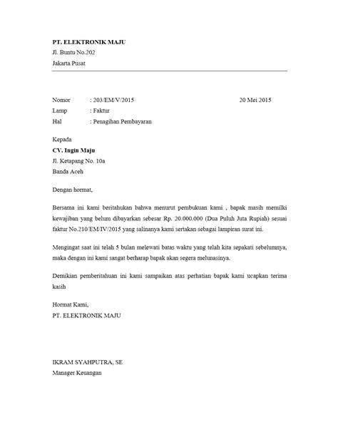 contoh surat penagihan pembayaran yang benar contoh surat org