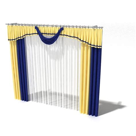 Blue And Gold Valance Blue And Gold Drapes 3d Model Cgtrader
