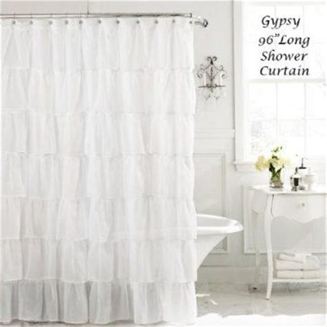 96 long shower curtain com white 96 quot extra long gypsy shabby chic ruffled