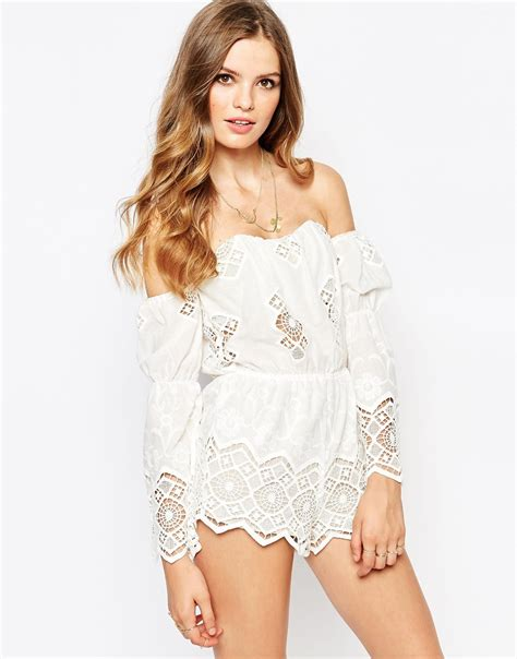 Guess Gs White Lace Romper cold fox white lace playsuit in white lyst