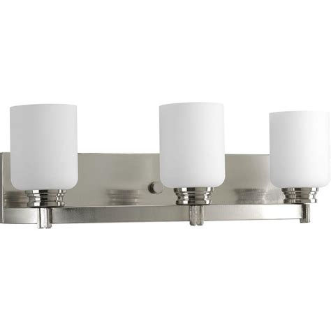 gallego 3 light glass shade vanity light progress lighting orbit collection 3 light brushed nickel