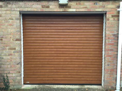 Golden Garage Door Golden Oak Seceuroglide Roller Garage Door In Haddenham Shutter Spec Security
