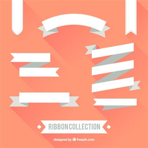 Flat Gold Ribbon flat white ribbon collection vector free