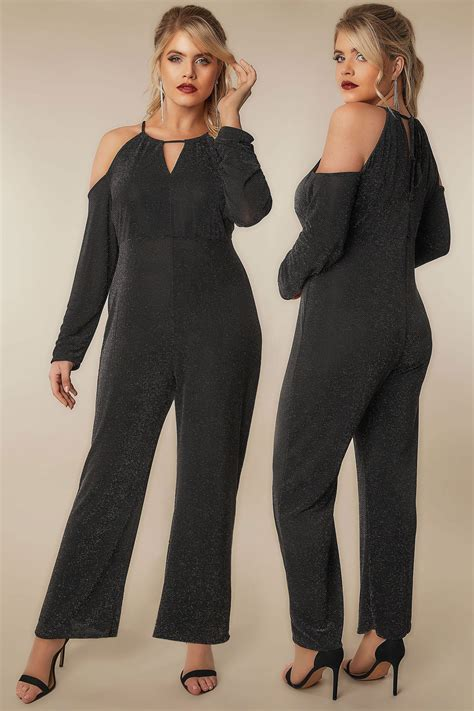 H And M Gift Card Balance Check - limited collection black multi glitter jumpsuit with cold shoulders plus size 16 to 36