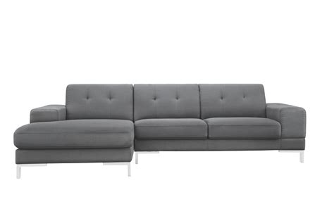 left facing chaise sectional sofa divani casa forli modern grey fabric sectional sofa w