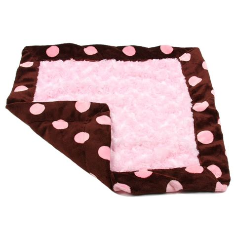 puppy blanket susan lanci blanket chocolate and pink minky polka dots blankets at