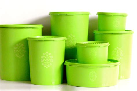 Tupperware Set tupperware set of seven kermit green coloured by thatretropiece