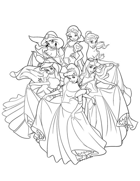 Disney Princesses Coloring Page Coloring Home All Disney Princesses Together Coloring Pages