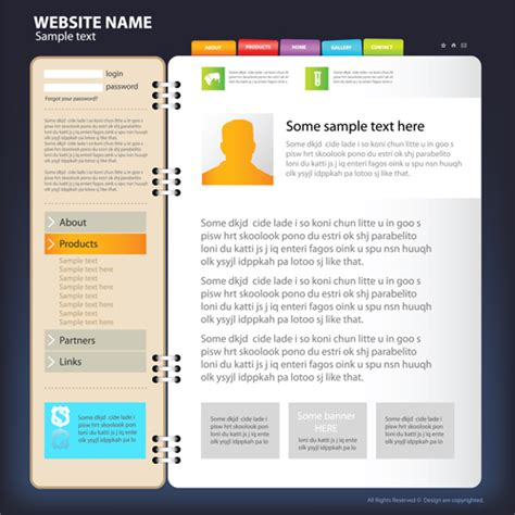 website templates for graphic designers web sites design template and button vector graphic 01