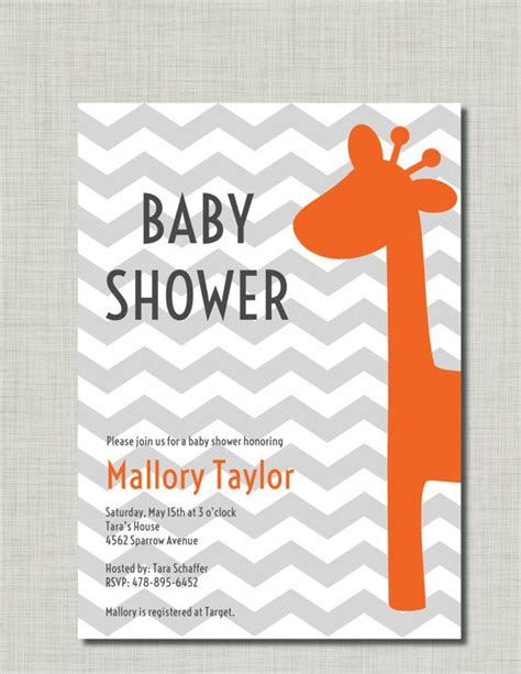 orange baby shower invitations giraffe baby shower invitation orange gray chevron grey