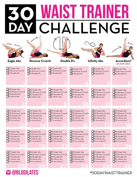 30 day thigh slimming challenge january calendar archives blogilates