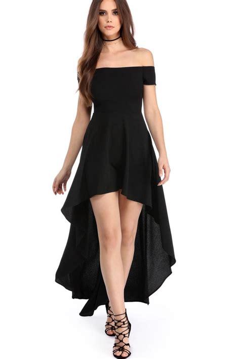 Dedigner Paety Dress Bangetttt Bun s black high low hem shoulder