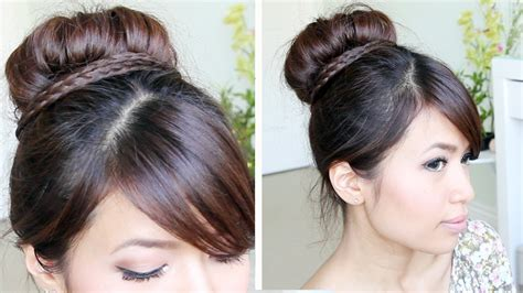 hairstyles jora tutorial sock bun braid updo hairstyle for medium long hair