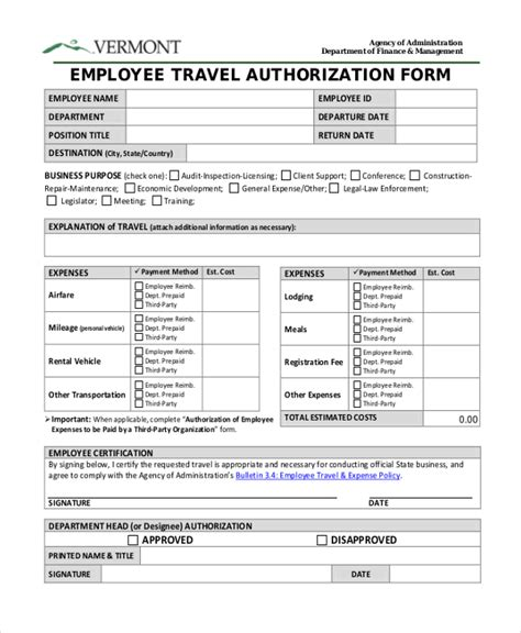 travel authorization form exle credit card recurring