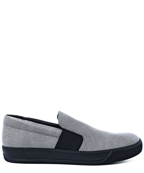 lanvin grey slip on effect leather skate shoes in
