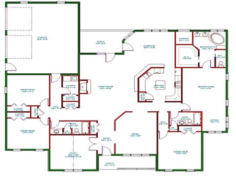 Floor Plans Open Concept One Story House Plans One Story House Plans With Open