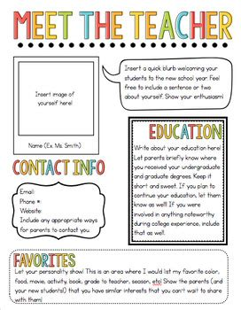 Meet The Teacher Newsletter Template By The Pixie Dust Teacher Tpt Free Newsletter Templates For Teachers