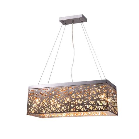 Rectangle Pendant Light Layla 8 Light Chrome Indoor Rectangular Pendant 14298 The Home Depot