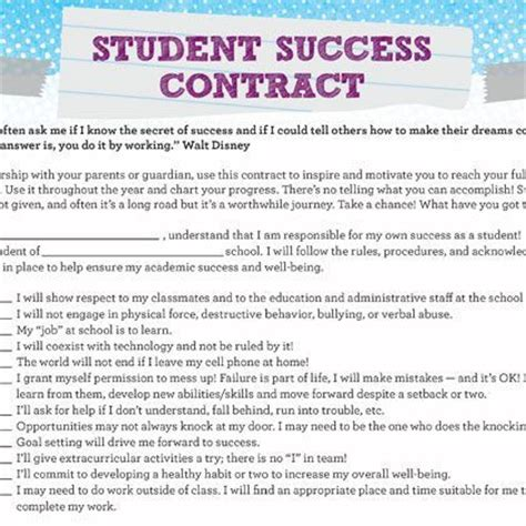 academic success plan template student success contract student self assessment