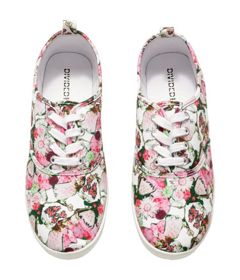 h m sneakers lyst h m canvas sneakers in pink