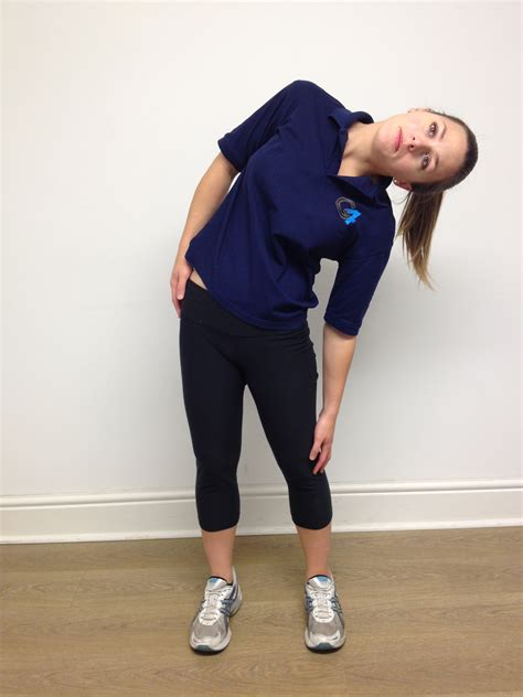 lumbar spine side flexion stretch  physiotherapy fitness