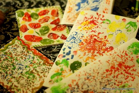 holi crafts for holi cards with leaf and petal printing and decoupage