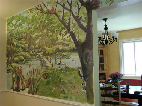 Wall Murals For Kitchen S Kitchen Mural Tree Town Murals