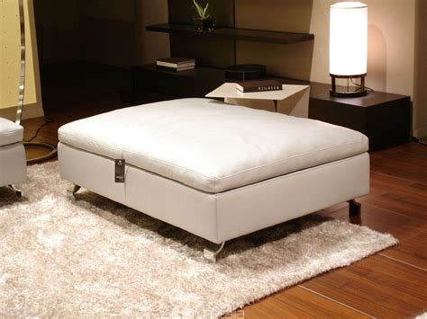 Ottoman White Leather Rectangle White Leather Ottoman Plus Storage It Combined With Curving Silver Steel Legs On
