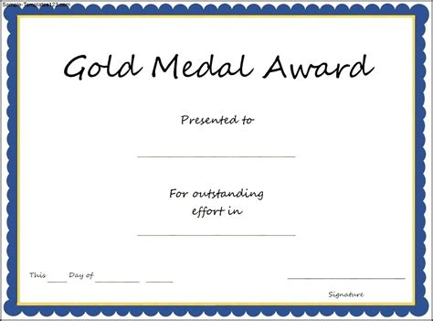 certificate template for gold medal award certificate template sle templates