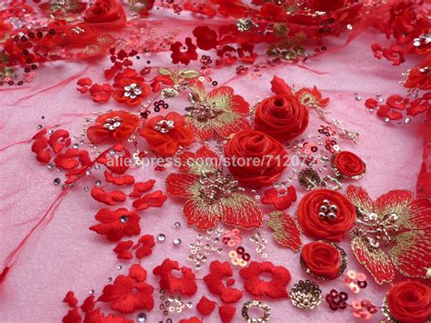 aliexpress com buy off white 3d rose beaded sequins lace on sale red 3d rose flowers beaded sequins lace fabric