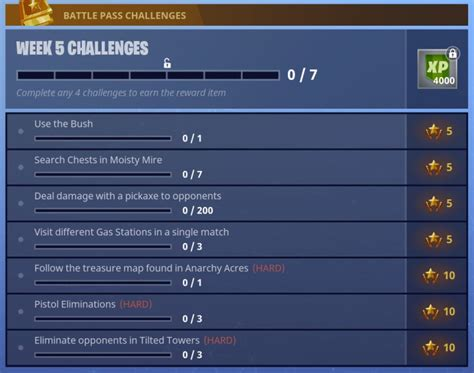 fortnite week 5 challenges fortnite battle royale week 5 battle pass challenges and