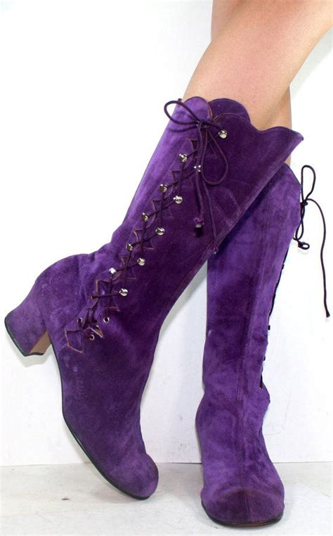 boots purple vintage high heel suede purple mid calf slouch womens
