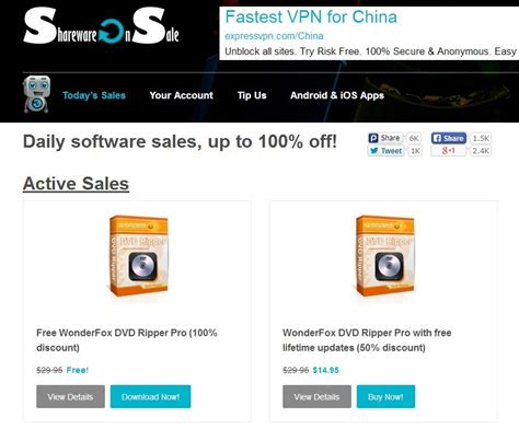 Shareware Giveaway - the time limited giveaway and discount of wonderfox dvd ripper pro on sharewareonsale