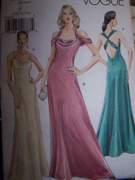 dress pattern v back bias cowl drape v back halter dress vogue sewing pattern 8242