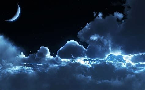 3d sky moonrise 3d blue clouds crescent dark darkness