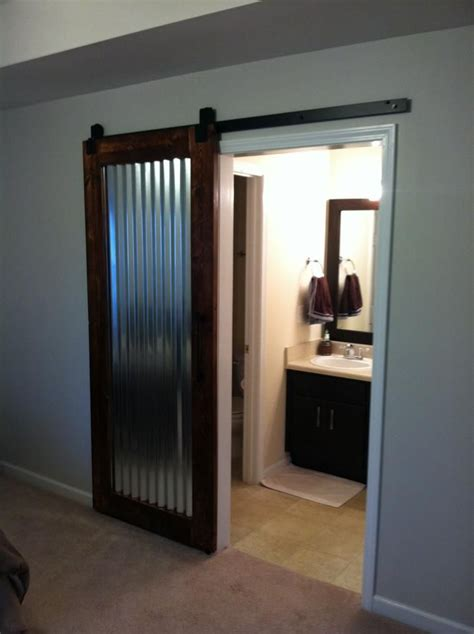 Metal Sliding Barn Doors Custom Built Sliding Barn Door I Made Corrugated Metal Insert My Work Sliding